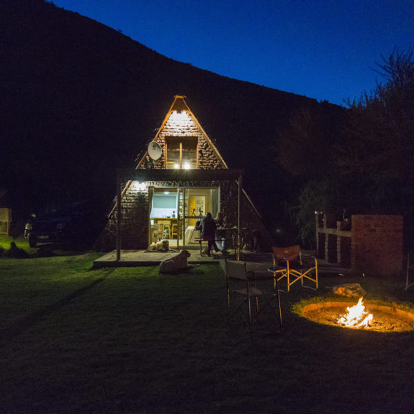 Beaufort West Chalets at night